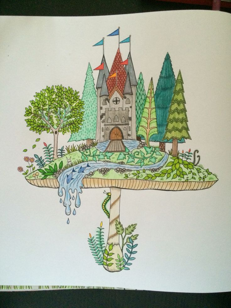Mushroom with castle from Johanna Basford 'enchated Forest'