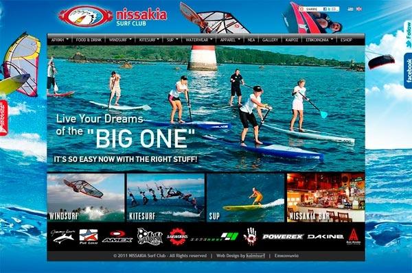 Website for Nissakia windsurfing club  www.nissakia.gr  (Adobe Dreamwaver, Flash, java libraries)