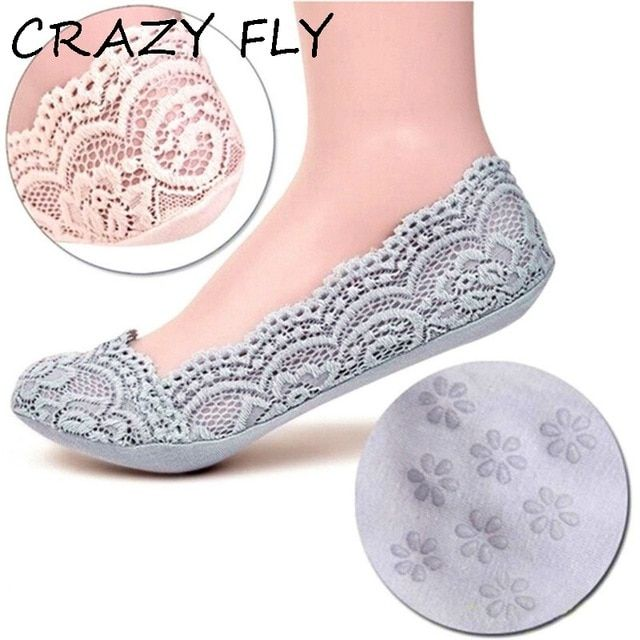 Soft Cotton Lace Antiskid Low Cut Socks for Women No Show Invisible Liner