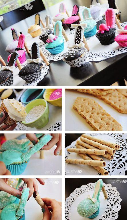 Cupcake Heels Tutorial! #cupcakes #recipe #diy #heels #high #shoe #cake http://thecakebar.tumblr.com/post/34411570621/high-heel-cupcakes-tutorial