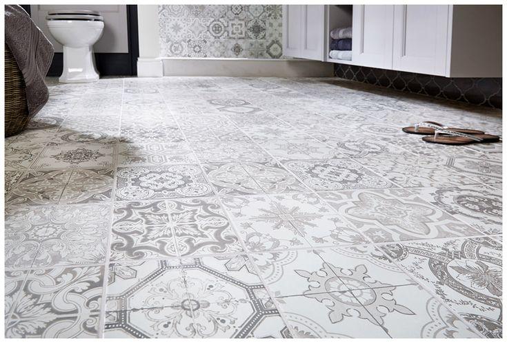 Vintage greys random patterned porcelain tiles for a highly decorative but practical floor #Roseberry #paintedtimber #bathroomfurniture #myutopia