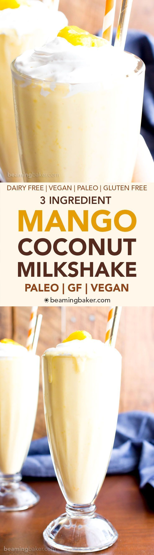 3 Ingredient Mango Coconut Paleo Milkshake (V, GF, Paleo): an easy, 3 ingredient recipe for super thick and frosty mango coconut milkshakes! #Paleo #Vegan #DairyFree #GlutenFree
