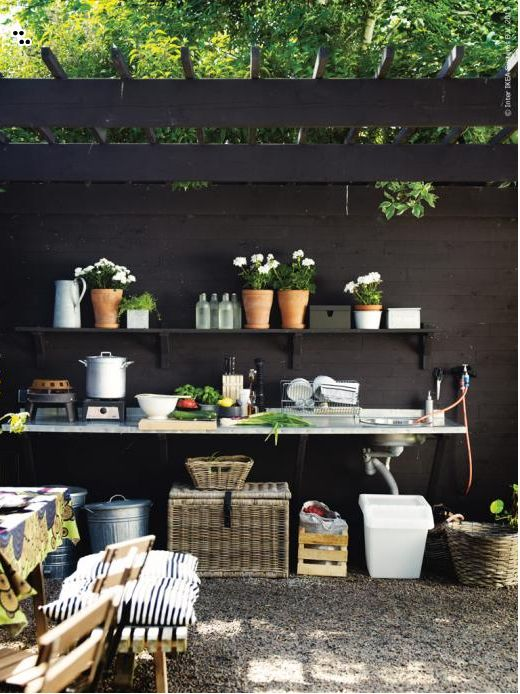 29 Wild Places to Live Outdoors  - (Step Out) a new book from IKEA. Set up kitchen outside with a sink, a hose with water, two hot plates, a few recycling bins, shelving and your set!