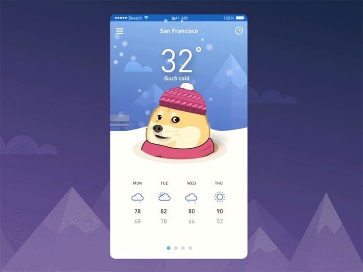 Funny Doge weather iOS app animation