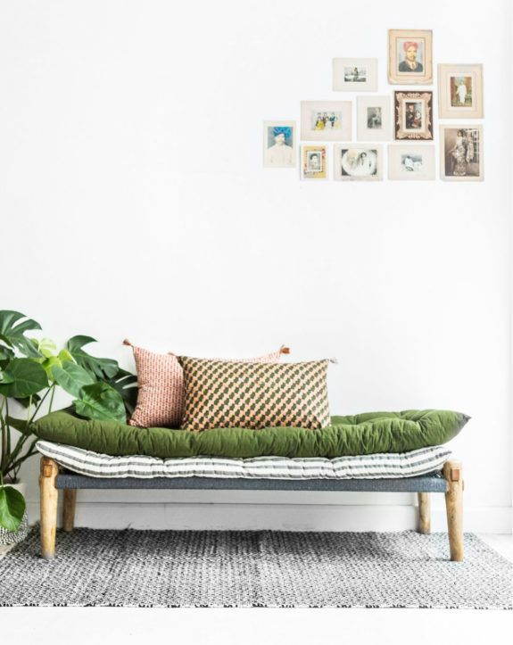 pale pink throw pillow on daybed with green upholstered pad / sfgirlbybay