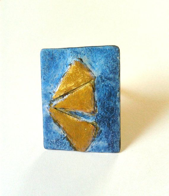 Handmade alpaca and brass adjustable ring oxidized in blue patina