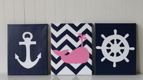 Baby Girl Nautical Nursery Decor Anchor Ship's Wheel Whale Nursery Chevron Navy Pink Nautical Art Modern Baby Girl Bathroom Painting on Etsy, $55.00