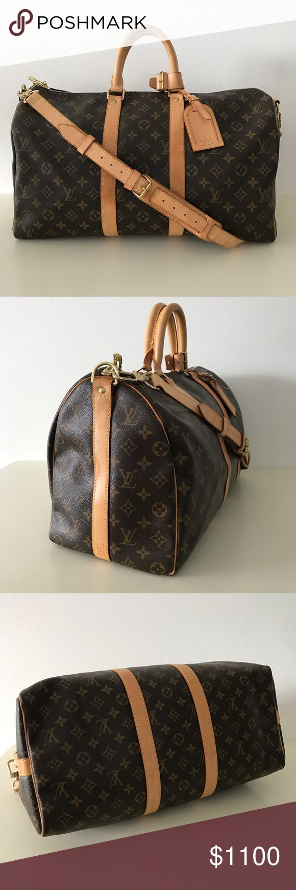 LOUIS VUITTON KEEPALL BANDOULIERE 45 MONOGRAM BAG Minimally used, in excellent condition. Retail value: over $1,800. Lightweight and roomy, the Louis Vuitton Keepall Bandoulière 45 is the only way to travel in style. Its timeless shape and classic Monogram canvas are as fresh today as they ever have been. 17.7 x 10.6 x 7.9 inches (Length x Height x Width)   - Removable strap with shoulder patch - Leather strap and handles - Cabin size - Removable leather name tag Louis Vuitton Bags Travel…