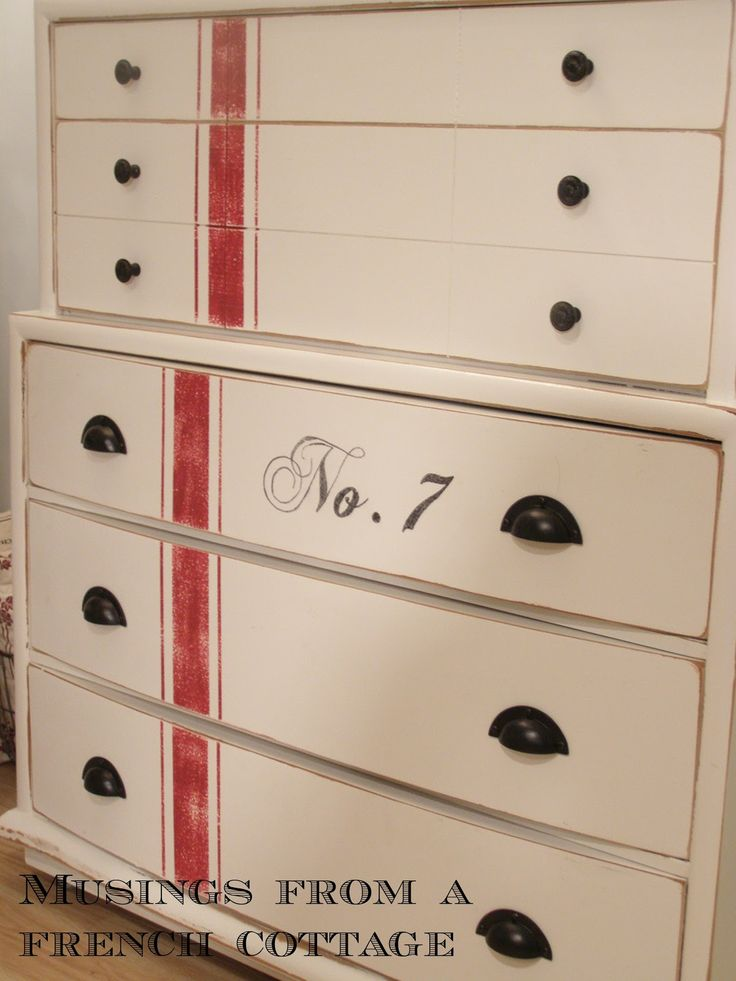 Musings From A French Cottage: Grain Sack Inspired Dresser Makeover
