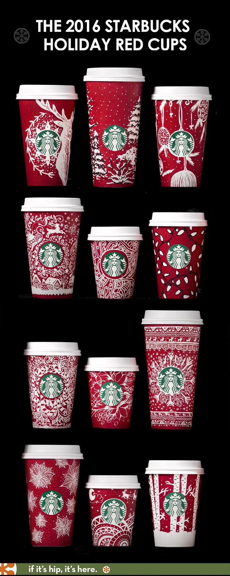 Get a closeup look at each of the new 2016 Starbucks Holiday Red Cups and learn the designer's inspiration at the link.