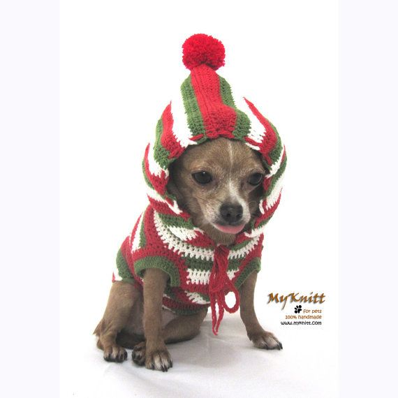 Christmas Gifts Dogs Hoodie Sweater Dog Clothes Pets by myknitt, $30.00