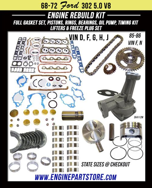 68-86 FORD 5.0L 302 V8 16V OHV ENGINE REBUILD KIT for Comet, Cougar, Custom, Fairlane, Galaxie, LTD, Maverick, Mustang, Torino and more.