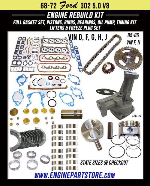 68-86 FORD 5.0L 302 V8 16V OHV ENGINE REBUILD KIT for Comet, Cougar, Custom, Fairlane, Galaxie, LTD, Maverick, Mustang, Torino and more.