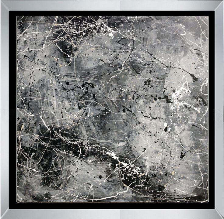 Soledad es una obra de arte abstracto realizada en lienzo de acrílico sobre tela con la aplicación de la técnica de goteo, de la artista regiomontana María Gamboa.