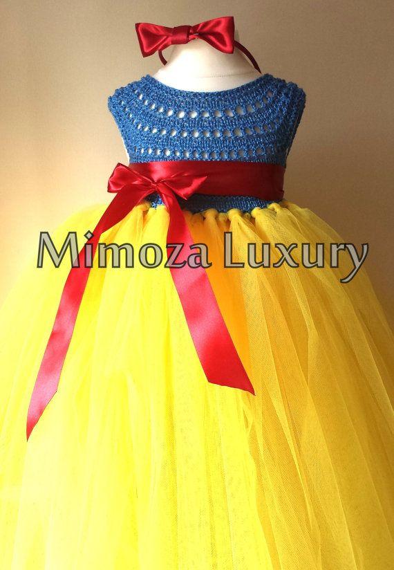 Snow White lusso principessa vestito, vestito ragazza di fiore, tutu vestito, abito di tulle giallo top crochet blu, maglia bianca come la neve Abito tutu