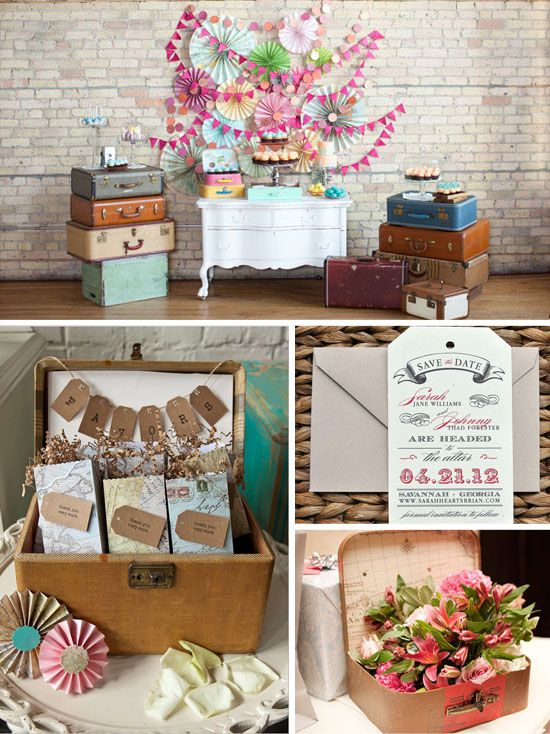 Travel themed wedding lots of ideas. Scroll down to the paper boat. M
