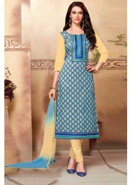 bleu coton couleur, costume de brocart churidar, - 76,00 €, #Sarimariage #Tenueindienne #Sariindienpascher #Shopkund