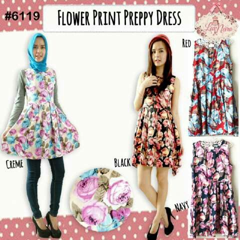 6119 flower preppy dress @ 75000,,seri 4 warna