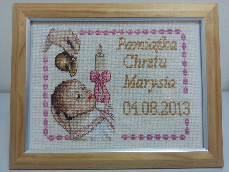 Cross stitch haft krzyżykowy pamiątka chrztu