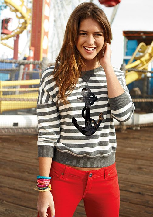 anchor striped sweaterAnchors Aweigh, Red Skinny, Red Jeans, Day Outfit, Stripes Tops, Stripes Sweaters, Anchors Stripes, Stripes Sweatshirts, Red Pants
