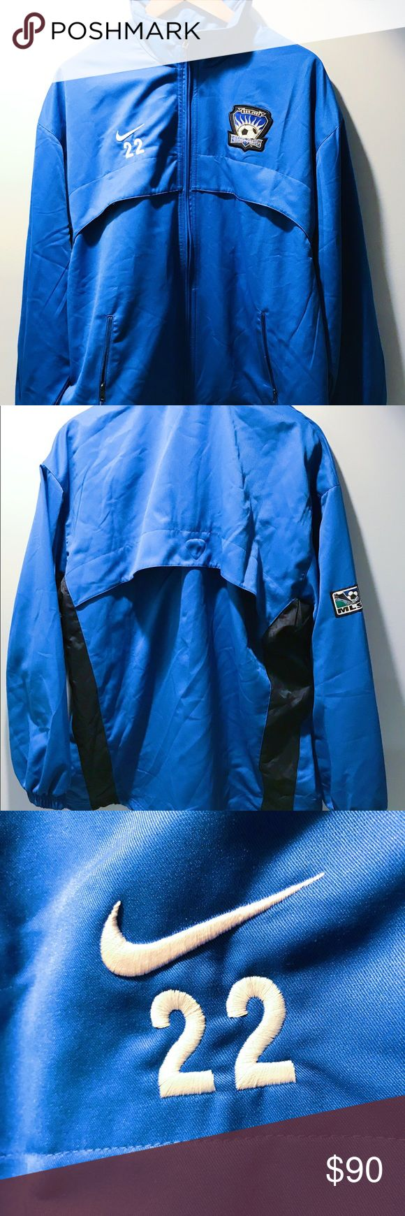 """Nike San Jose Earthquakes MLS Player Issue Jacket Nike San Jose Earthquakes MLS Player Issue Jacket  Pit to pit - 26""""  2003 season   Never sold commercially   ULTRA RARE Nike Jackets & Coats Performance Jackets"""