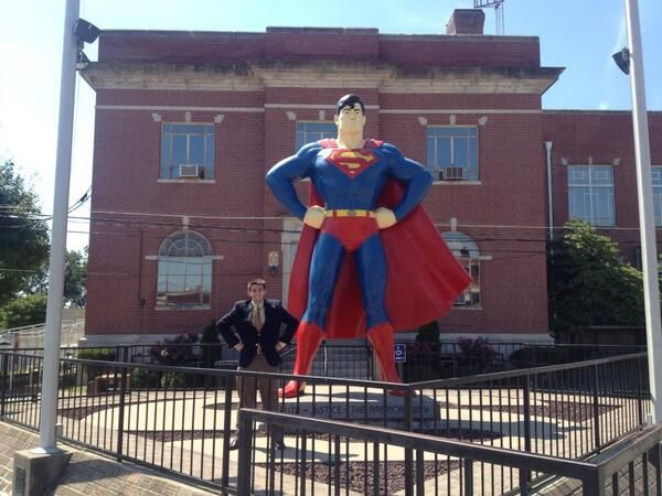 Rep. John Shimkus, R-Ill., (@RepShimkus): With my intern Brandon in Metropolis.  Which one is the man of steel? pic.twitter.com/WcVis8mRCZ