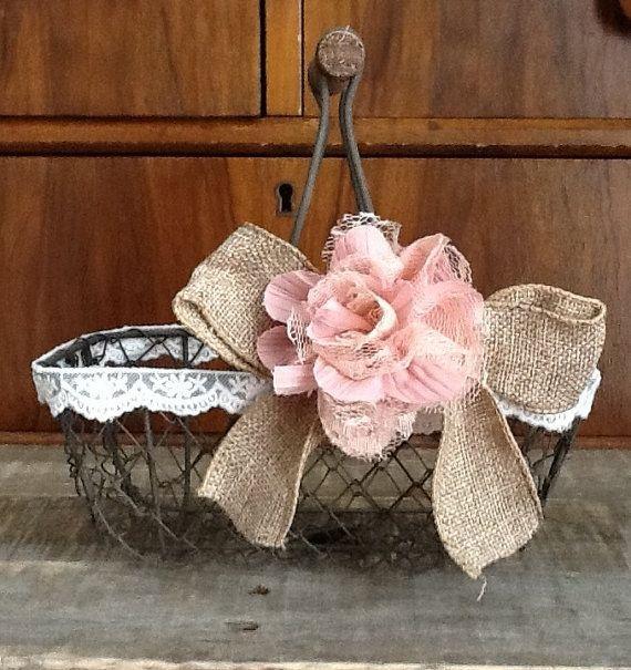 Rustic Flower Girl Basket - Wire Wedding Basket, Burlap Wedding