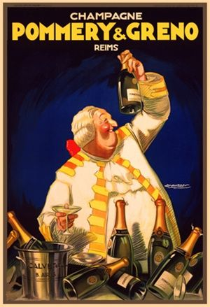 Pommery and Greno by Mauzan 1920 France - Vintage Poster Reproduction. This wine and spirits poster features a fat man in white wig and suit holding up a bottle of champagne with others piled up in front of him. Giclee Advertising Print. Classic Posters