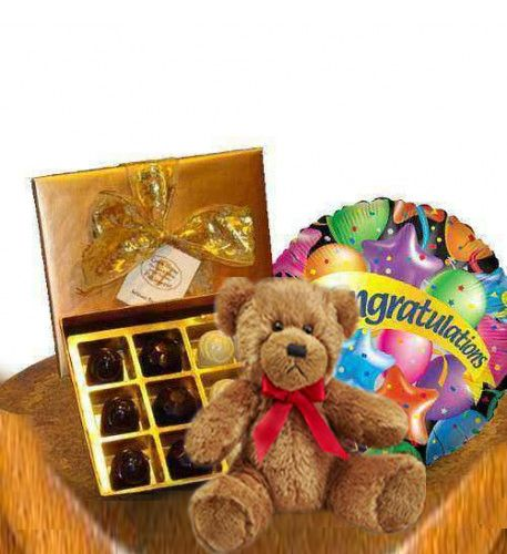 """Sweet congratulation  This gift includes a box of assorted chocolates and a """"Congratulation"""" balloon to convey best wishes in classic way."""