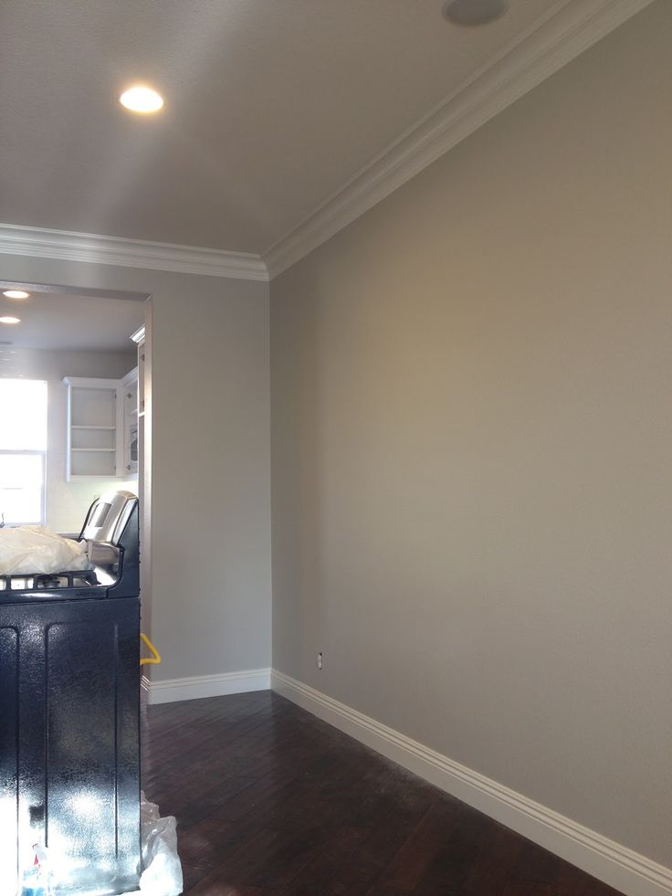 Benjamin Moore's 'Revere Pewter,' described as the best paint color ever! Love the contrast between wall and floor.