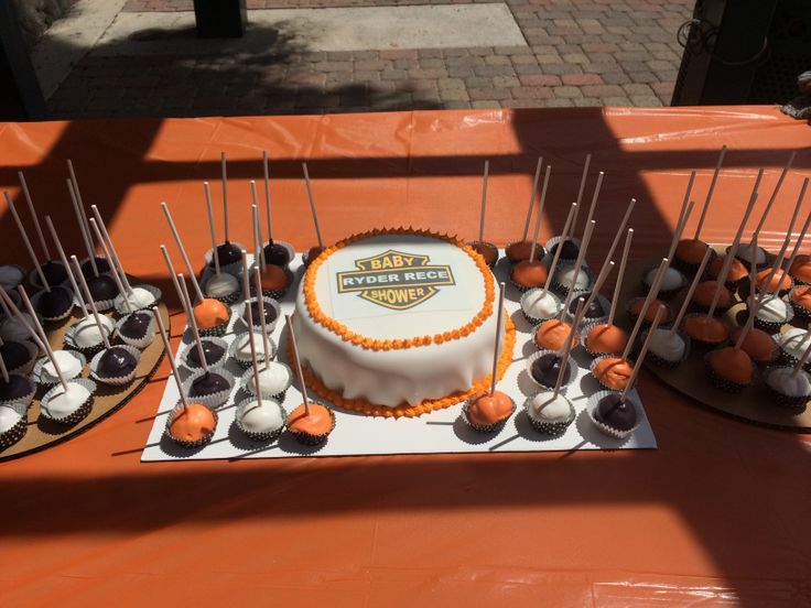 Amazing Harley Davidson Cake Baby Shower Orange And Black