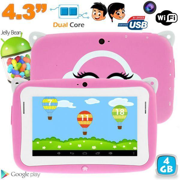 Tablette tactile pour enfants à partir de 4 ans disposant d'un mode éducatif avec le contrôle parental. La YoKid Mini fait seulement 4.3 pouces et est parfaite pour les petites mains de vos enfants. Elle est équipée du système d'exploitation de Google Android 4.2. Cette tablette éducative est idéale pour les petites filles grâce à sa couleur rose et sa mémoire interne de 4Go.