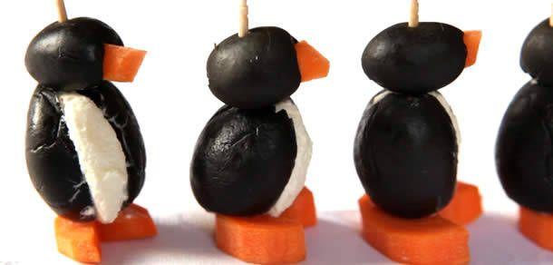Foto: Pinguim de queijo e azeitona
