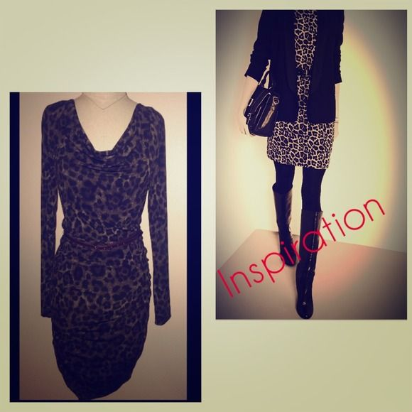 Michael Kors Body Con Animal Print Cocktail Dress Gently worn. With name branded skinny belt. Great for a night out or worn with a blazer for a daytime professional look. Michael Kors Dresses