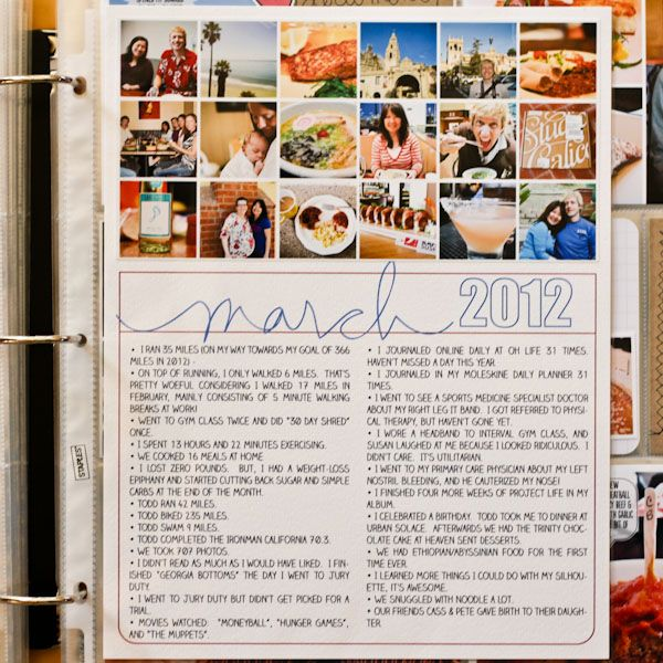 """Make a Week-In-Review or Month-In-Review photo collage, journal in bullet list form, print it out, put it into a page protector, and call it done! Photos + words are all you need."""