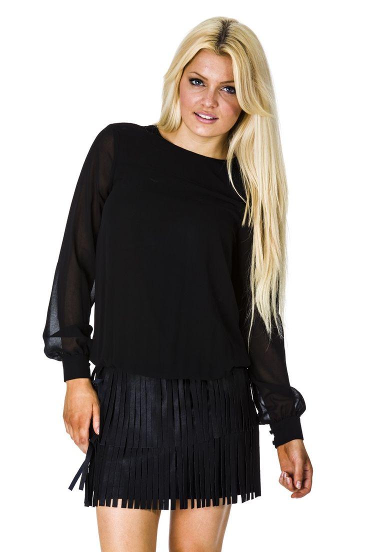Zwart Fracomina jurkje met leren rok en franjes.