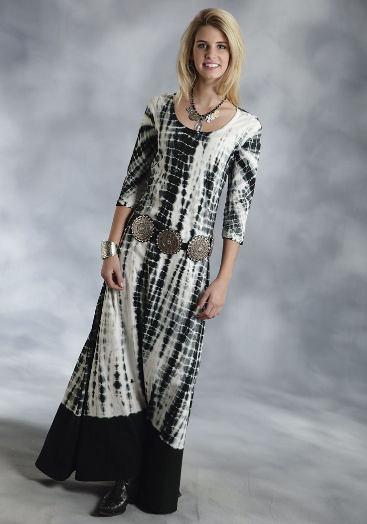 roper-womens-black-white-tie-dye-maxi-dress