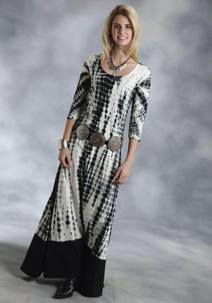 roper-womens-black-white-tie-dye-maxi-dress