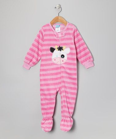 Take a look at this Pink Cow Fleece Footie - Infant & Toddler by Candlesticks on #zulily today!