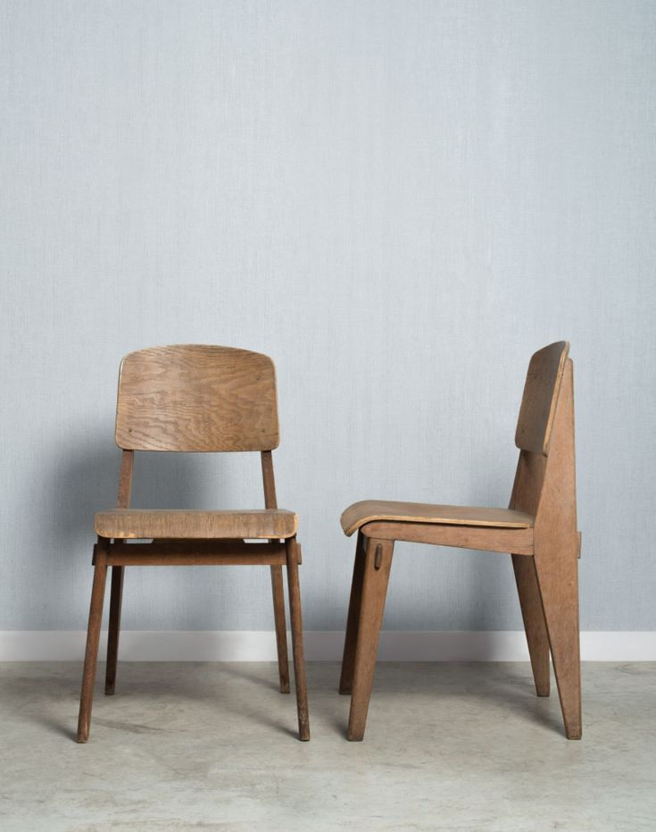 Jean Prouvé; Beech and Molded beech Plywood Chairs, 1941.
