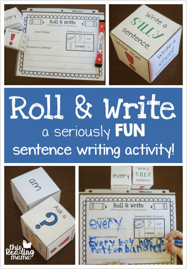 Sentence Writing FUN - Roll and Write a Sentence with Spelling Words - This Reading Mama