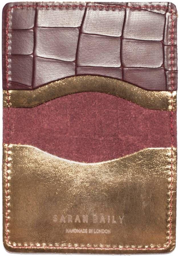 Sarah Baily - Red Croc & Bronze Card Wallet