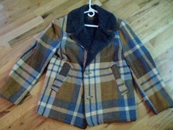 70's MACKINAW CRUISER jacket plaid blue wool fleece by vintagezion