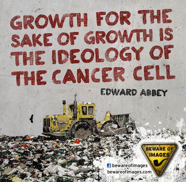 """Growth for the sake of growth is the ideology of the cancer cell."" ~Edward Paul #Abbey"