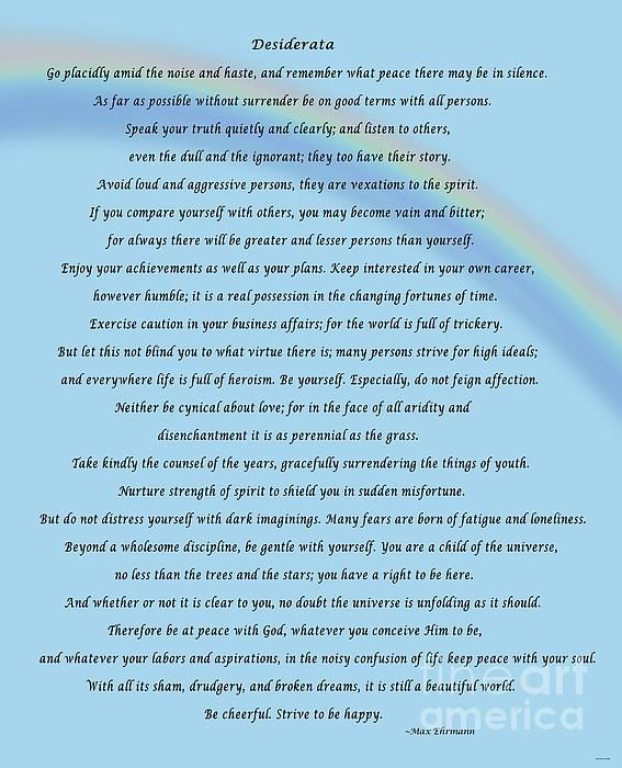Desiderata With Blue Sky And Rainbow by Barbara Griffin