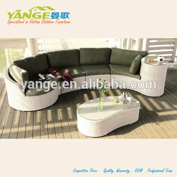 White rattan furniture for outdoor