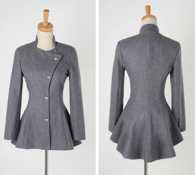 Ladies' Pure Color Lapel Button Down Swallow Tail Trench Coat