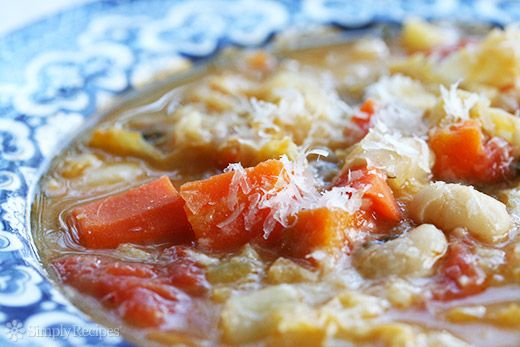 Minestrone Soup ~ Minestrone soup with cannellini beans, salt pork or pancetta, broth, cabbage, potato, zucchini, carrots, plum tomatoes, and Parmesan cheese. ~ SimplyRecipes.com