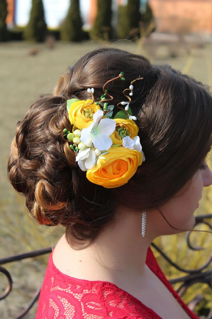 Yellow hair accessories for wedding - Flower Hair Clips Wedding Hair Clip Prom Flower Headpiece Yellow Comb Yellow Hair Piece Flower