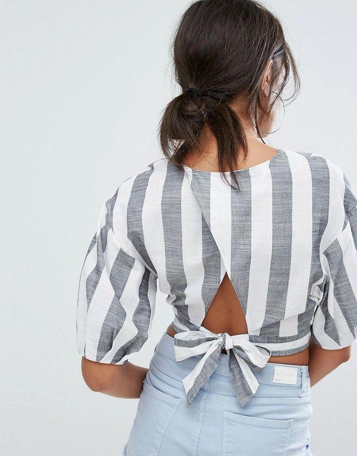 Bershka Bold Stripe Crop Top - Multi